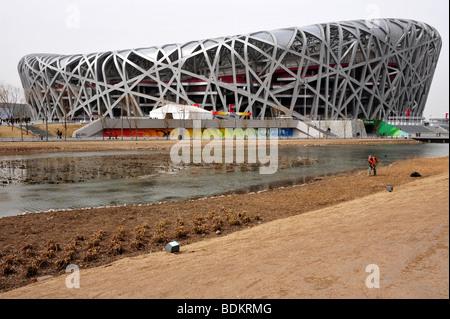 Chinese Olympic green national stadium national aquatics center 2008 Summer Olympic Games Beijing China Birds Nest - Stock Photo