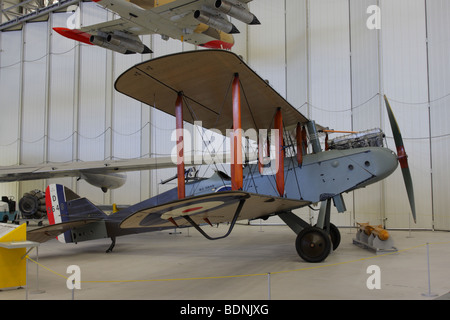 A fine example of the DeHavilland DH9,this example in on permanent display in the Air Space Hangar,IWM Duxford, - Stock Photo
