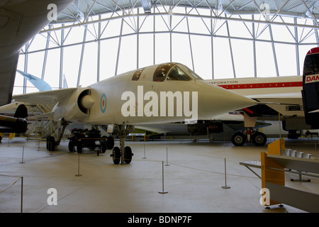 Adorned in it`s white livery is this BAC TSR-2,on permanent display in the Air Space Hangar,IWM Duxford,England. - Stock Photo