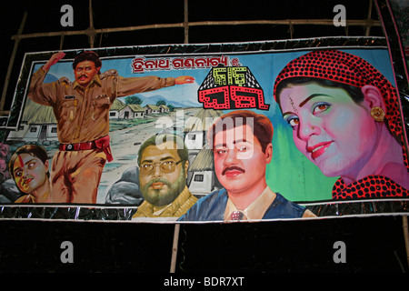 Colourful Bollywood Film Poster In Puri, Orissa, India - Stock Photo