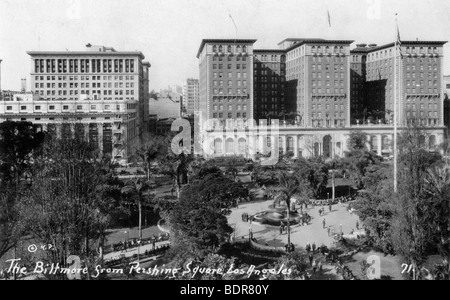 The Biltmore from Pershing Square, Los Angeles, California, USA, c1933. - Stock Photo