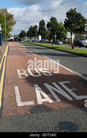 a bus lane sign on a road for a bus only driving lane in wolverhampton - Stock Photo