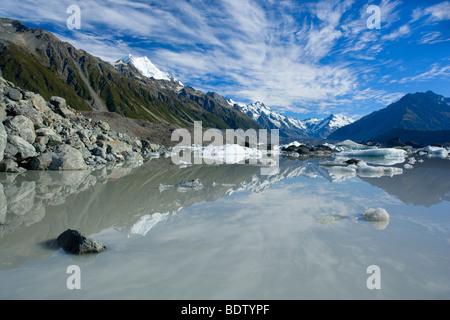 Mountains of Mount Cook Nationalpark reflected in Tasman Glacier Lake, Canterbury, South Island, New Zealand - Stock Photo