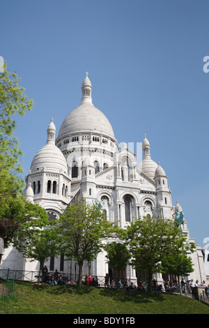 Basilique du Sacre Coeur, the Basilica of the Sacred Heart, Paris, France - Stock Photo