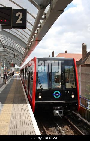 Docklands Light Railway, London, England, U.K. - Stock Photo