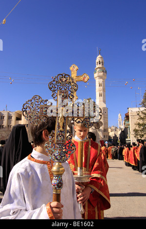 bethlehem the greek orthodox christmas procession in manger square stock photo - Greek Orthodox Christmas