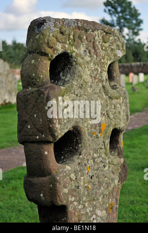 Detail of Anglo-Saxon wheelhead cross. Church of Saint Michael and All Angels, Addingham, Cumbria, England, U.K., - Stock Photo