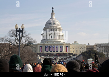 US Capitol building and crowd on National Mall. Inauguration Day 2009. Washington DC - Stock Photo