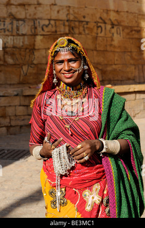 Street trader with jewelry for sale, Jaisalmer, Rajasthan, North India, India, South Asia, Asia - Stock Photo