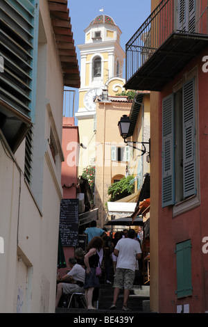view of the old town towards saint michael's church villefranche-sur-mer south of france - Stock Photo