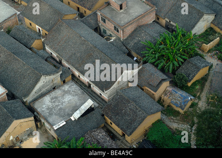 Chinese house roofs made of black tiles aerial view as seen from a hot air balloon, near Yangshuo, Guilin, Guanxi, - Stock Photo