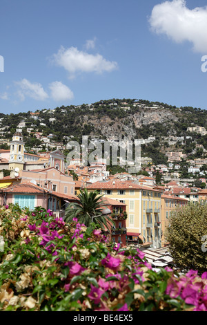 view over the old town of villefranche-sur-mer south of france - Stockfoto