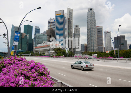 Singapore skyline, banks, central business district Maybank, HCBC, THE FULLERTON HOTEL SINGAPORE, five-star luxury - Stock Photo