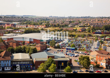 Aerial view of Grantham Lincolnshire. - Stock Photo