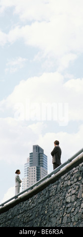 Business professionals standing on wall with arms folded, skyscraper in background - Stock Photo