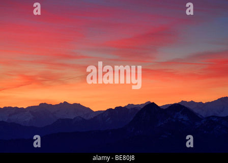 Aurora above Niedere Tauern range, Salzburg, Austria - Stock Photo