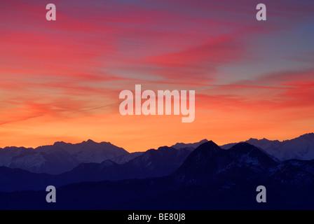 Aurora above Niedere Tauern range, Salzburg, Austria - Stock Photo