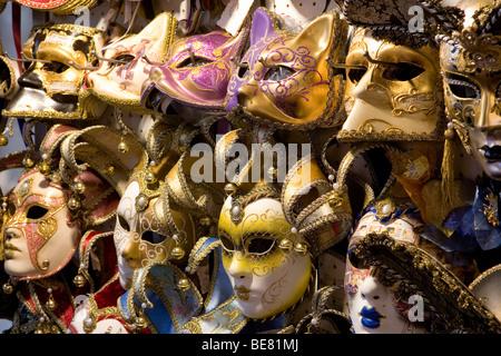 Detail of venetian carnival masks, Venice, Italy, Europe - Stock Photo