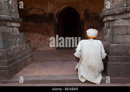 Muslim Man Praying at Qadam Rasul Mosque in Gour in Bengal State in India - Stock Photo