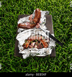 Barbecued sausages on a grass background - Stockfoto