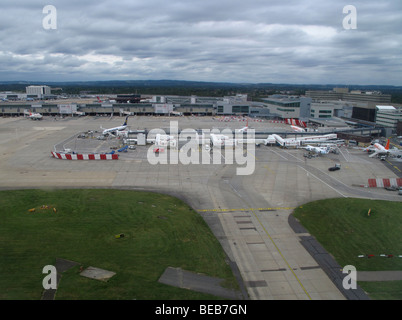 An aerial view of Gatwick airport is seen from the window of a Flybe flight from Guernsey to London Gatwick - Stock Photo