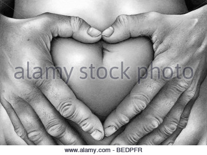 Close up of hand squeezing skin - Stock Photo