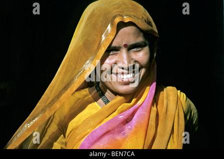 Married Hindu woman with bindi in Jaisalmer, India - Stock Photo