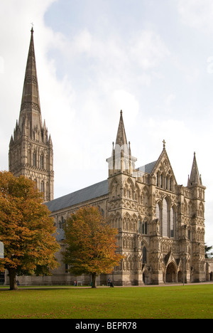 Salisbury Cathedral and the close in autumn - Stock Photo