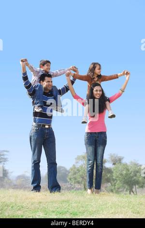 Family enjoying themselves - Stock Photo