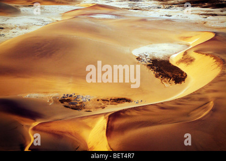 Aerial photo of sand dunes Namib Naukluft park Namib desert Namibia - Stock Photo