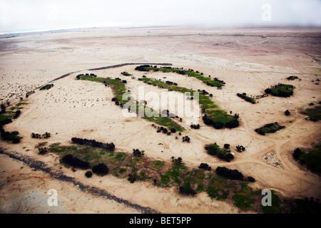 aerial view of desert from plane Swakopmund Namibia - Stock Photo