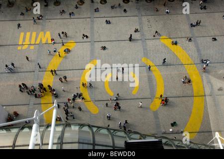 Square at the Centre Pompidou,, Paris, France - Stock Photo