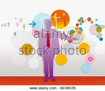 Businessman with light bulb and circle images in background - Stockfoto