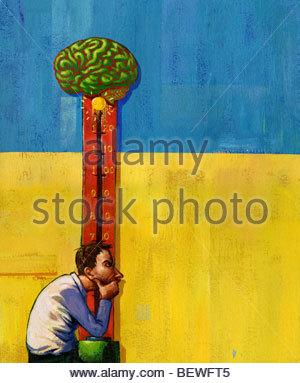 Man using brainpower to win game - Stockfoto