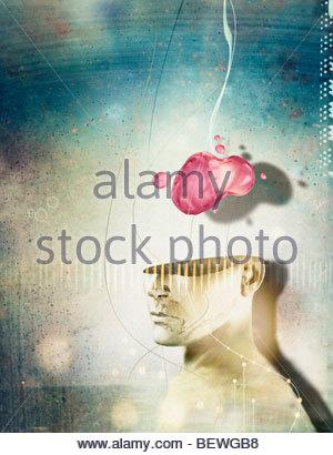 Brain above human head - Stockfoto