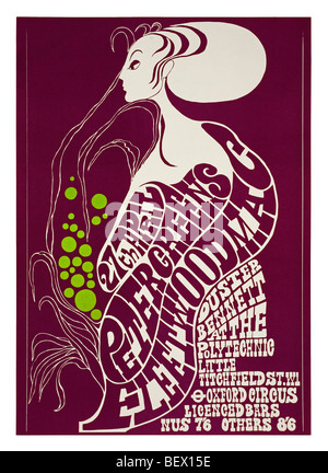 Poster for Peter Green's Fleetwood Mac at the London Polytechnic in 1967 - Stock Photo
