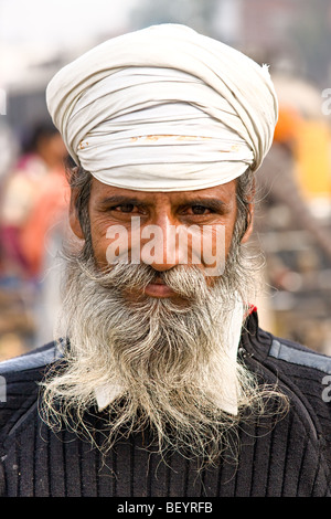 Portrait of a Sikh man in Amritsar, punjab, India. - Stock Photo