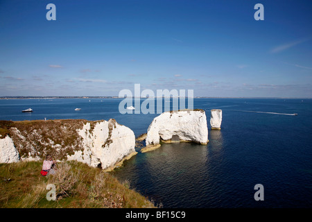 Walker on the cliffs above Old Harry Rocks on Dorset's Jurassic Coast between Swanage and Studland - Stockfoto