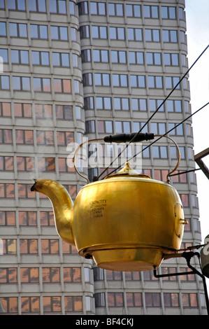 Giant Steaming Tea Kettle, Boston, USA - Stock Photo
