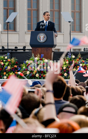 The US President Barack Obama giving the speech at Prague Castle in Prague, 4 April 2009. - Stock Photo