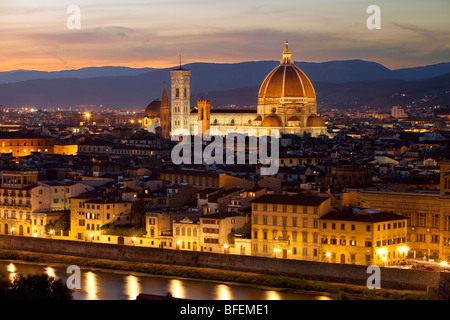 The Duomo at sunset - Santa Maria del Fiore in Florence Tuscany Italy - Stock Photo