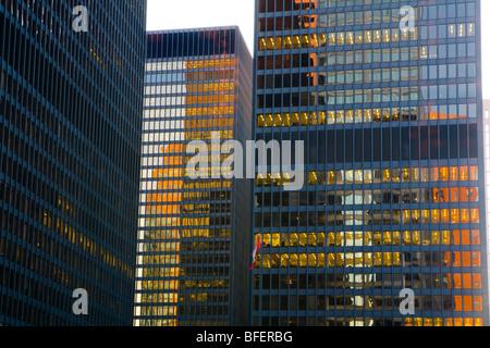 Evening in the financial district, Toronto, Ontario, Canada - Stock Photo