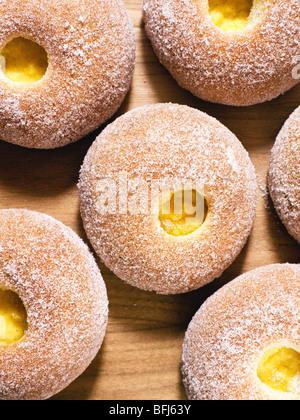 Bun with vanilla custard filling, Sweden. - Stock Photo