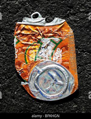 Orange Crush Soda Can Crushed Flat - Stock Photo