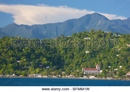 Landscape of the town and mountains in Port Antonio. - Stock Photo
