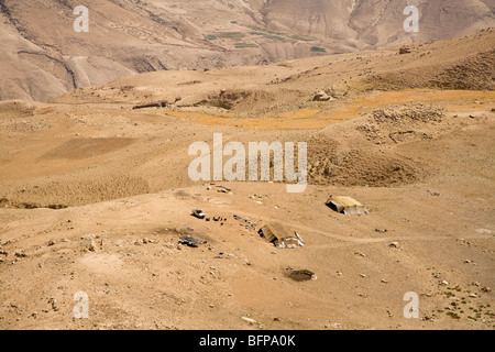 Nomads with tents in the desert, Jordan, Middle East, Asia - Stock Photo