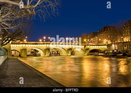 PONT NEUF AT NIGHT, PARIS - Stock Photo