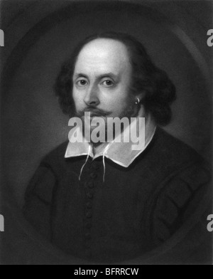 Portrait engraving c1849 of legendary English poet and playwright William Shakespeare (1564 - 1616). - Stock Photo