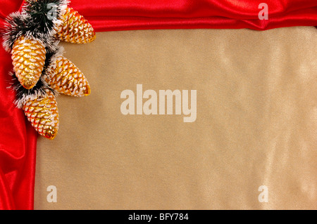 Golden-red decorative christmas frame - Stock Photo