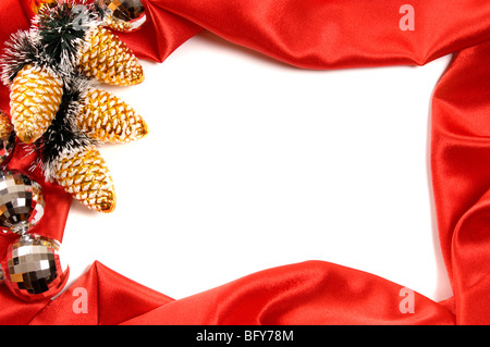 Red decorative christmas frame on white background - Stock Photo